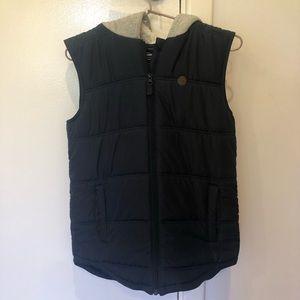 Kids navy zip up puffer vest with fleece hood